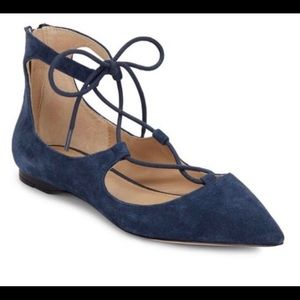 Saks off fifth suede lace flat sz 7